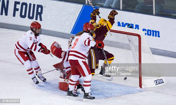 Sarah Potomak of the Minnesota Golden Gophers scores the winning goal in overtime against of the Wisconsin Badgers during game two of the 2016 NCAA...