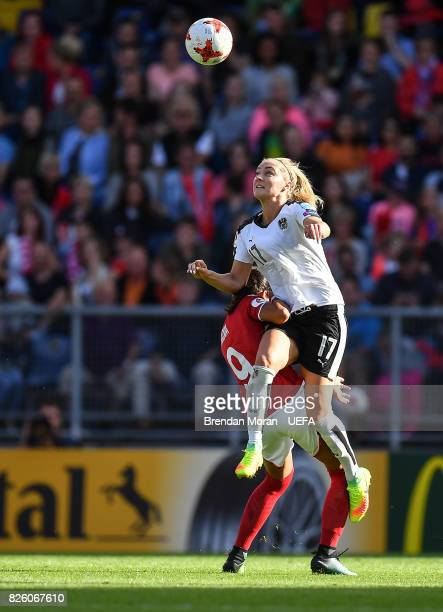 Sarah Puntigam of Austria and Nadia Nadim of Denmark during the UEFA Women's EURO 2017 Semifinal match between Austria and Denmark at Rat Verlegh...