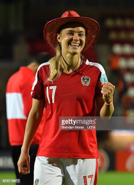 Sarah Puntigam of Austria celebrates after the UEFA Women's EURO 2017 Group C match between Iceland and Austria at Sparta Stadion on July 26 2017 in...