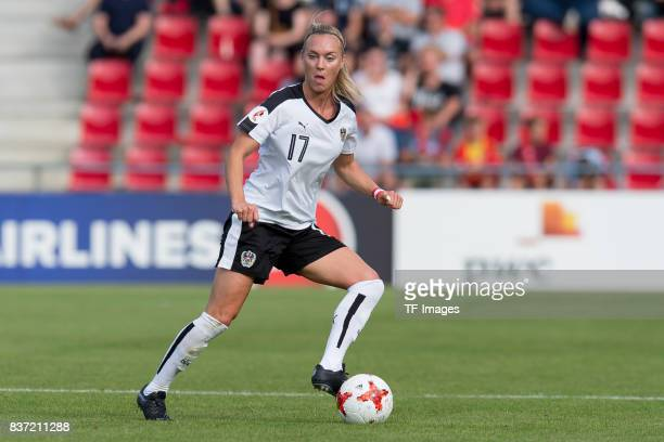 Sarah Puntigam of Austria controls the ball during the Group C match between Austria and Switzerland during the UEFA Women's Euro 2017 at Stadion De...