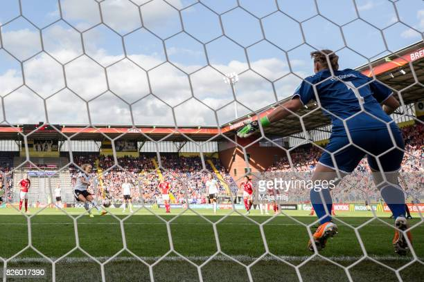 Sarah Puntigam of Austria misses a penalty against goalkeeper Stina Lykke Petersen during the UEFA Women's Euro 2017 Semi Final match between Denmark...