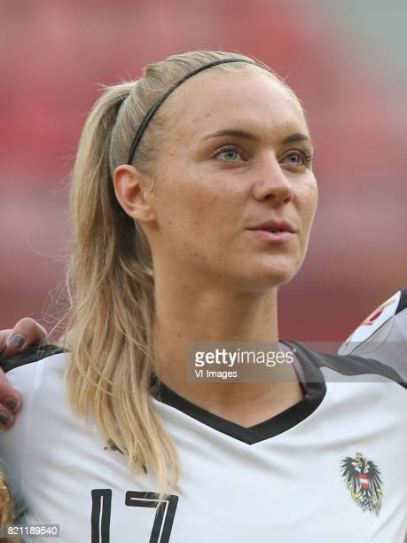 Sarah Puntigam of Austria women during the UEFA WEURO 2017 Group C group stage match between France and Austria at the Galgenwaard Stadium on July 22...
