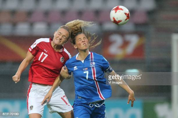 Sarah Puntigam of Austria women Sara Bjork Gunnarsdottir of Iceland women during the UEFA WEURO 2017 Group C group stage match between Iceland and...