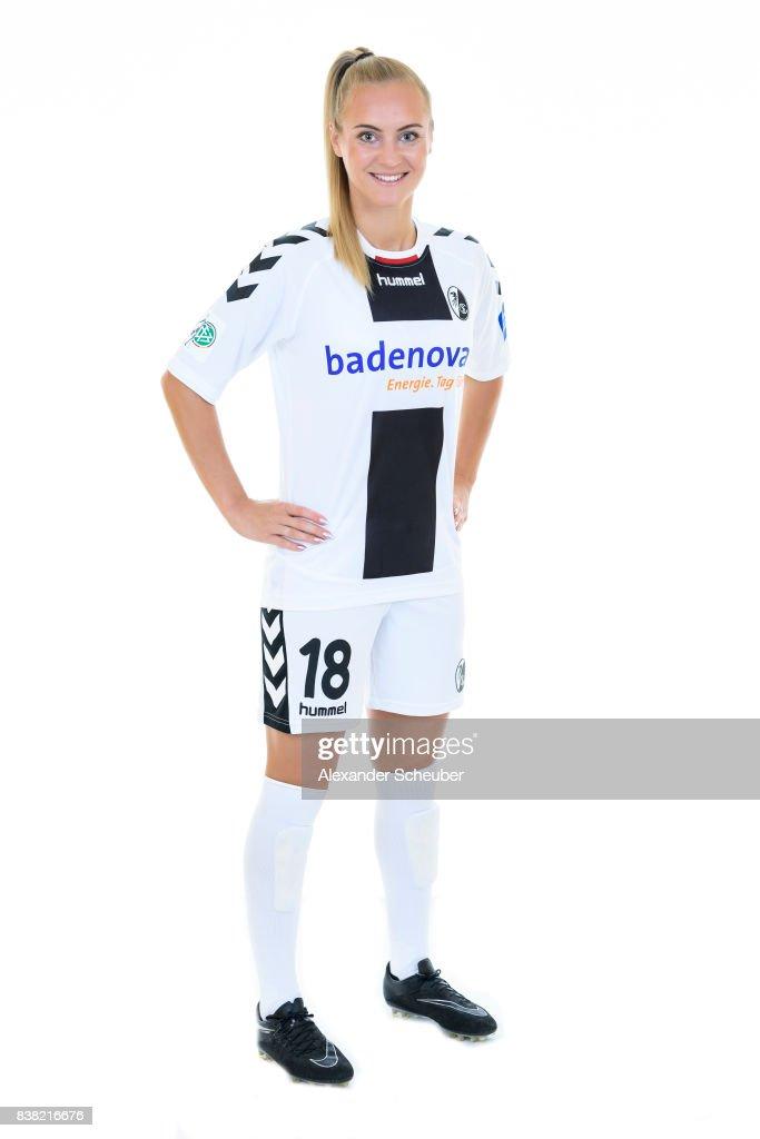 Sarah Puntigam of SC Freiburg poses during the Allianz Frauen Bundesliga Club Tour at Elbigenalp on August 21, 2017 in Elbigenalp, Austria.