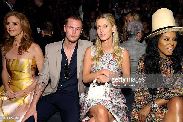 Sarah Rafferty Barron Hilton Nicky Hilton and June Ambrose attend the Dennis Basso SS17 fashion show during New York Fashion Week at The Arc Skylight...