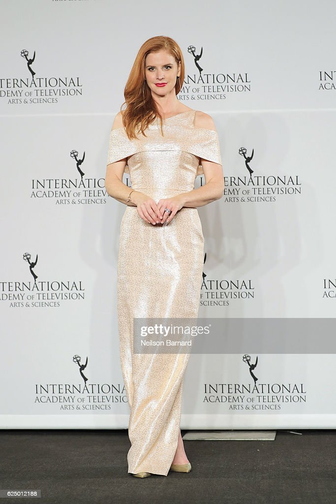 Sarah Rafferty poses in the press room during the 44th International Emmy Awards at New York Hilton on November 21, 2016 in New York City.