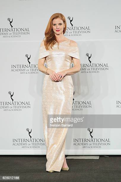 Sarah Rafferty poses in the press room during the 44th International Emmy Awards at New York Hilton on November 21 2016 in New York City