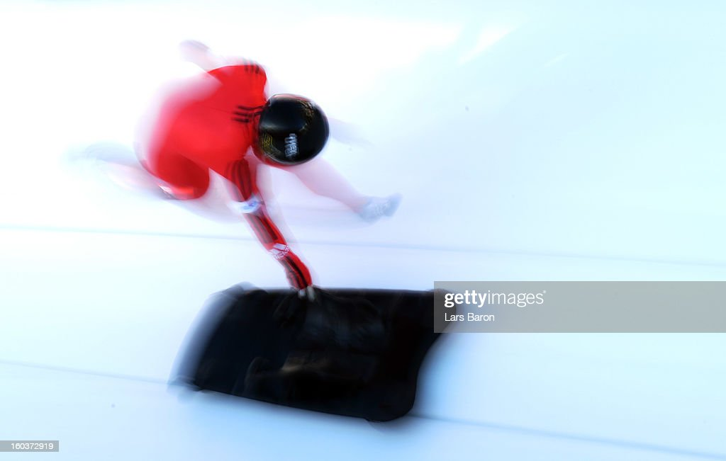 Sarah Reid of Canada competes during a training session at Olympia Bob Run on January 30, 2013 in St Moritz, Switzerland.
