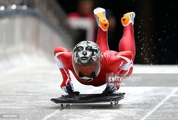 Sarah Reid of Canada makes a practice skeleton run ahead ahead of the Sochi 2014 Winter Olympics at the Sanki Sliding Center on February 5 2014 in...