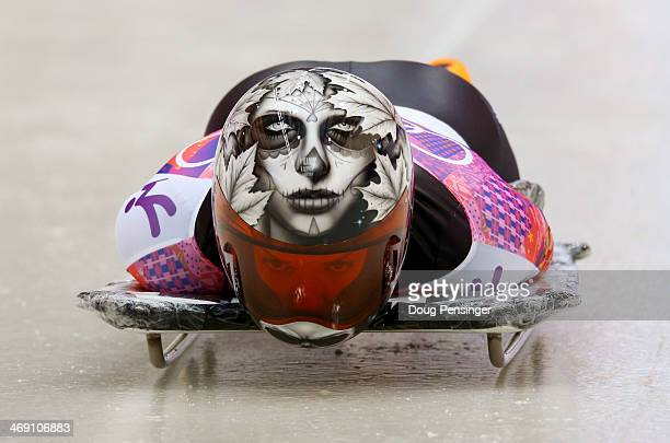 Sarah Reid of Canada makes a run during the Women's Skeleton heats on Day 6 of the Sochi 2014 Winter Olympics at Sliding Center Sanki on February 13...
