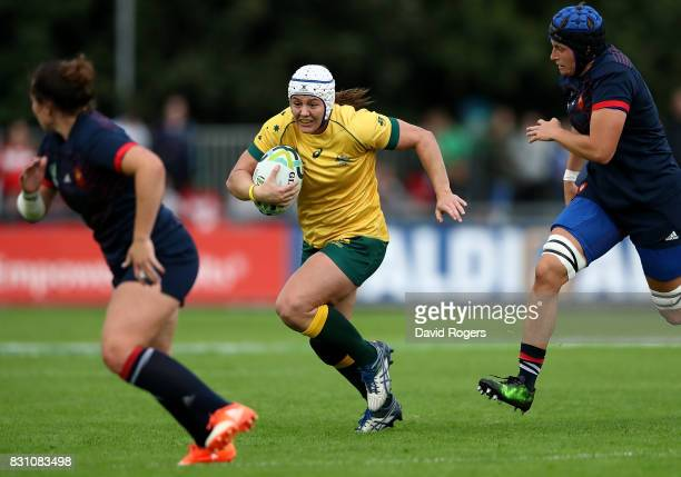 Sarah Riordan of Australia makes a break during the Women's Rugby World Cup 2017 match between France and Australia on August 13 2017 in Dublin...