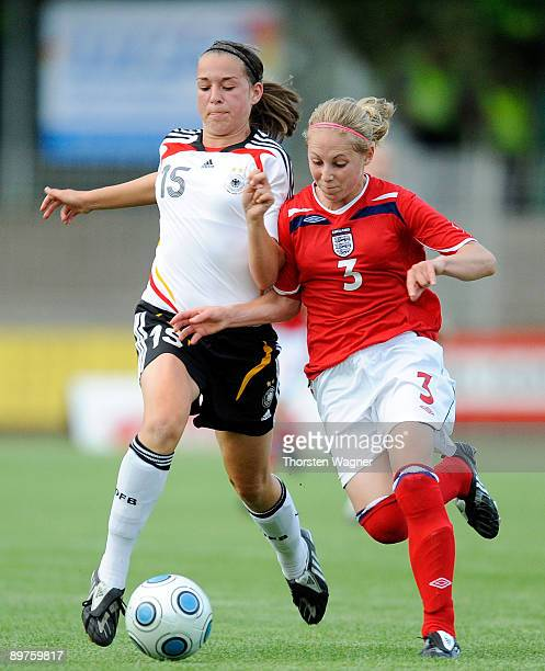 Sarah Romert of Germany battles for the ball with Leah Galton of England during the U15 women international friendly match between Germany and...