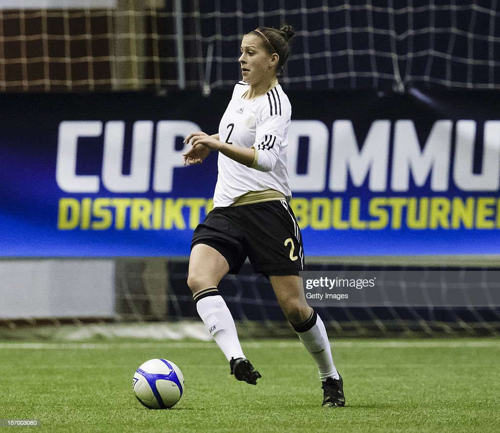Sarah Romert of Germany with the ball during the Under 19 Women's international friendly between Sweden and Germany at Tipshallen Stadium on November 21, 2012 in Vaxjo, Sweden.