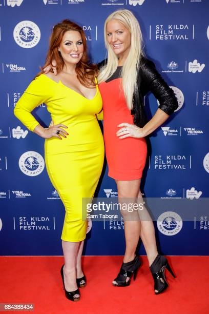 Sarah Rosa and Brynne Edelsten arrive ahead of the St Kilda Film Festival 2017 Opening Night at Palais Theatre on May 18 2017 in Melbourne Australia