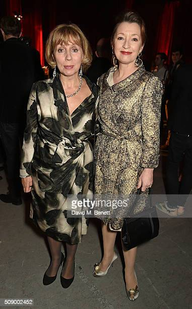 Sarah Sands editor of the London Evening Standard and Lesley Manville attend a champagne reception at the London Evening Standard British Film Awards...