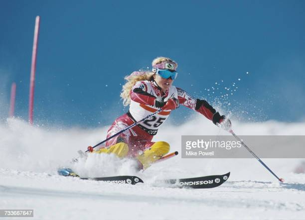 Sarah Schleper of the United States during the International Ski Federation Women's Slalom at the FIS Alpine Skiing World Cup on 18 November 2000 in...
