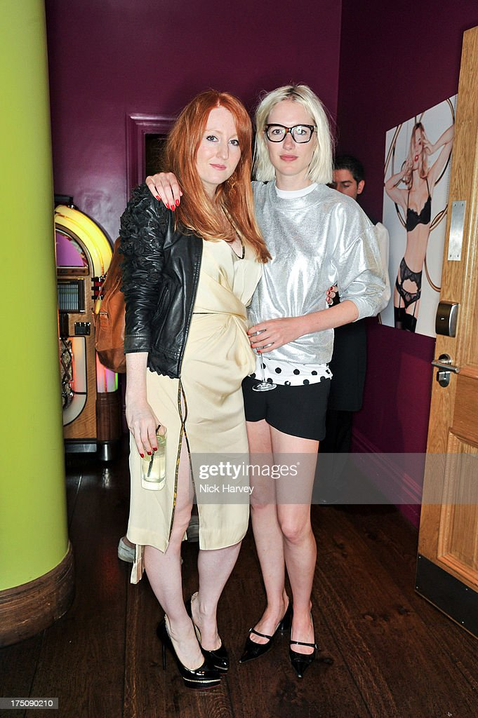 Sarah Shotton and Phoebe Arnold attend the launch of 'L'Agent' Campaign film by Agent Provocateur and directed by Penelope Cruz at Soho Hotel on July 31, 2013 in London, England.