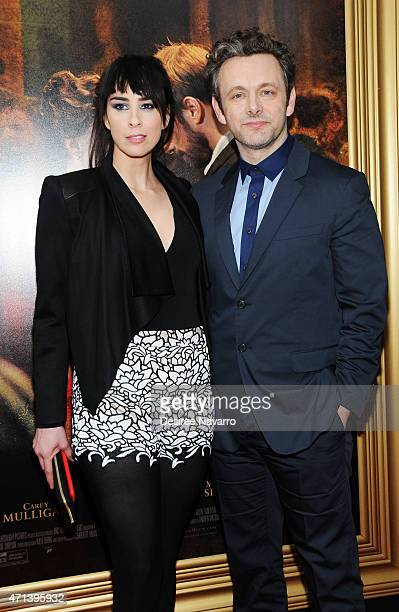 Sarah Silverman and actor Michael Sheen attend the New York special screening of 'Far From The Madding Crowd' at The Paris Theatre on April 27 2015...