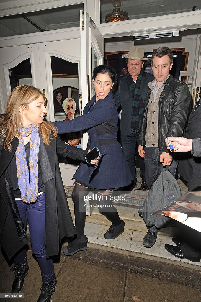 Sarah Silverman (2nd Left) and John C Reilly (3rd Left) sighting at the Electric Cinema on February 5, 2013 in London, England.