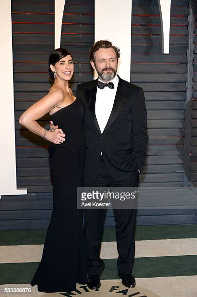 Sarah Silverman and Michael Sheen arrive to the Vanity Fair Party following the 88th Academy Awards at The Wallis Annenberg Center for the Performing...