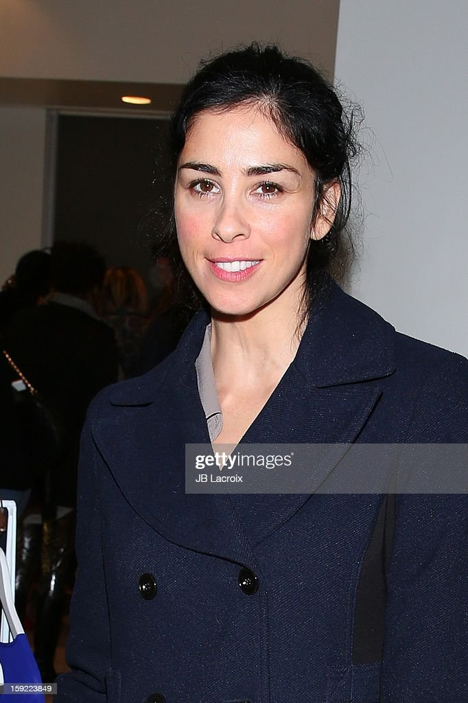 <a gi-track='captionPersonalityLinkClicked' href=/galleries/search?phrase=Sarah+Silverman&family=editorial&specificpeople=241299 ng-click='$event.stopPropagation()'>Sarah Silverman</a> attends the TopMen Exclusive Pop Up Shopping Event at TopShop on January 9, 2013 in Los Angeles, California.