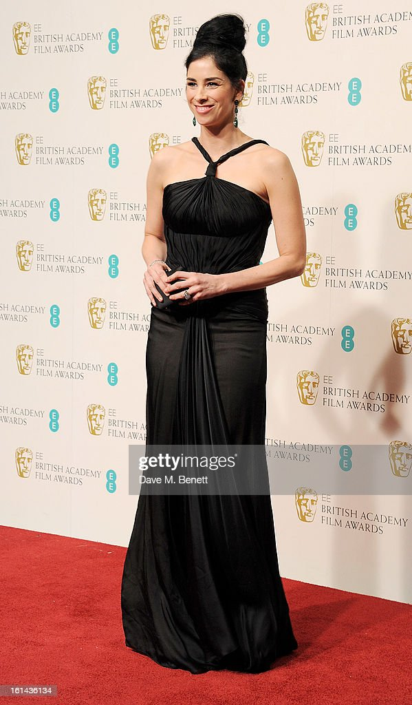 <a gi-track='captionPersonalityLinkClicked' href=/galleries/search?phrase=Sarah+Silverman&family=editorial&specificpeople=241299 ng-click='$event.stopPropagation()'>Sarah Silverman</a> poses in the Press Room at the EE British Academy Film Awards at The Royal Opera House on February 10, 2013 in London, England.