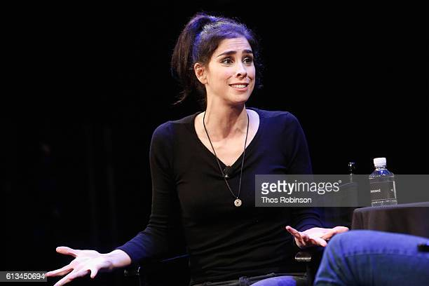 Sarah Silverman speaks at The New Yorker Festival 2016 Sarah Silverman talks with Andy Borowitz at Acura at SIR Stage37 on October 8 2016 in New York...