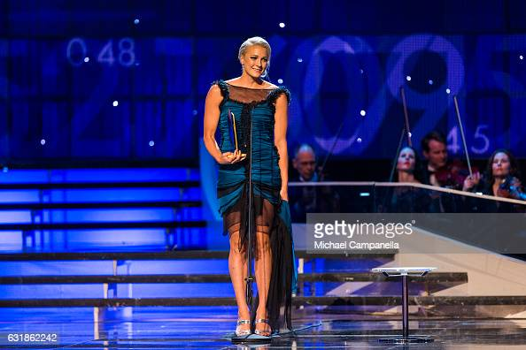 Sarah Sjoestroem wins the Female Athlete of the Year during the 2017 Sweden Sports Gala held at the Ericsson Globe Arena on January 16 2017 in...