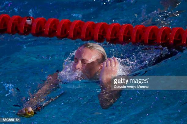 Sarah Sjostrom from Zweden leaves the pool after achieving a new record on te Women's 200m Freestyle Final of the FINA/airweave Swimming World Cup...
