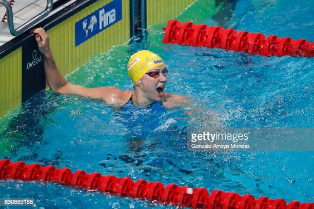 Sarah Sjostrom from Zweden reacts as she know she has achieved a new record on te Women's 200m Freestyle Final of the FINA/airweave Swimming World...