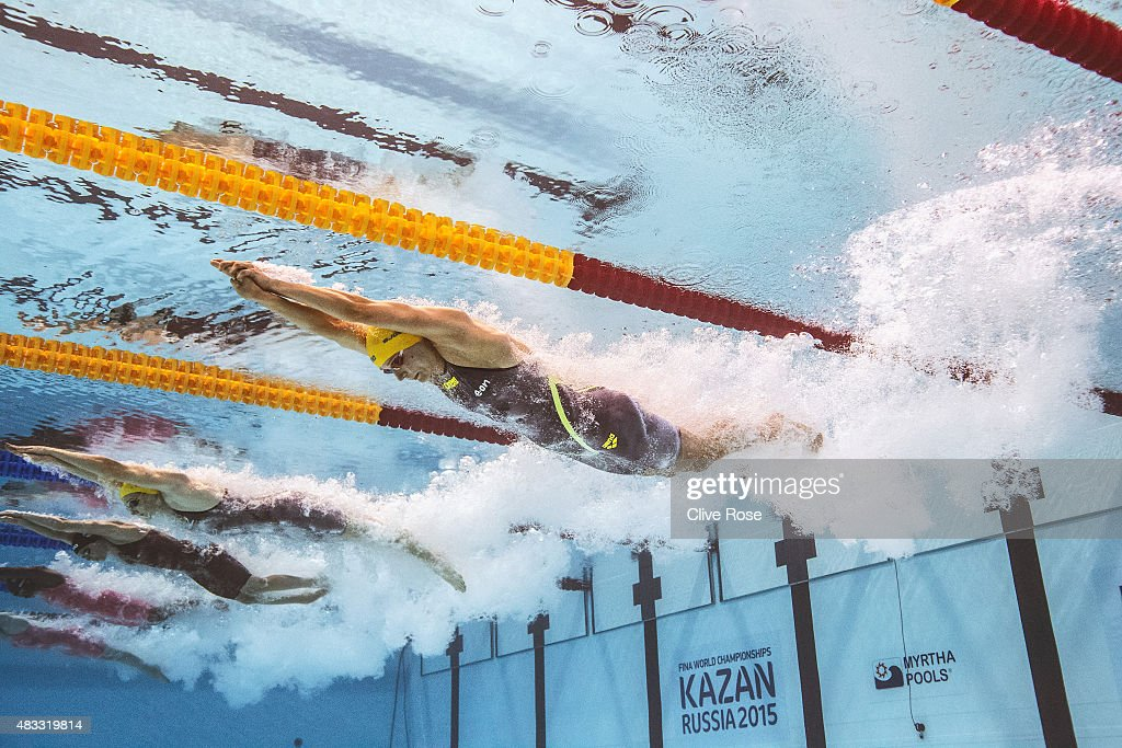 Sarah Sjostrom of Sweden competes in the Women's 100m Freestyle Final on day fourteen of the 16th FINA World Championships at the Kazan Arena on August 7, 2015 in Kazan, Russia.