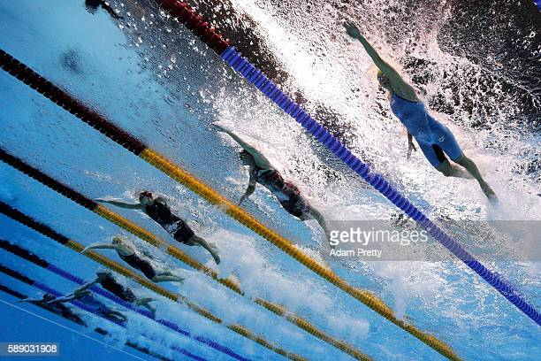 Sarah Sjostrom of Sweden Jeanette Ottesen of Denmark Francesca Halsall of Great Britain and Bronte Campbell of Australia competes in the first...