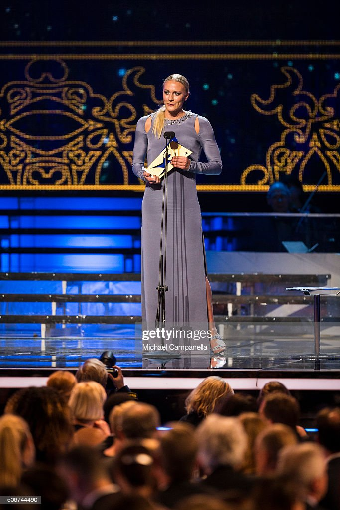 Sarah Sjostrom wins female athlete of the year at the Swedish Sports Gala at the Ericsson Globe on January 25 2016 in Stockholm Sweden