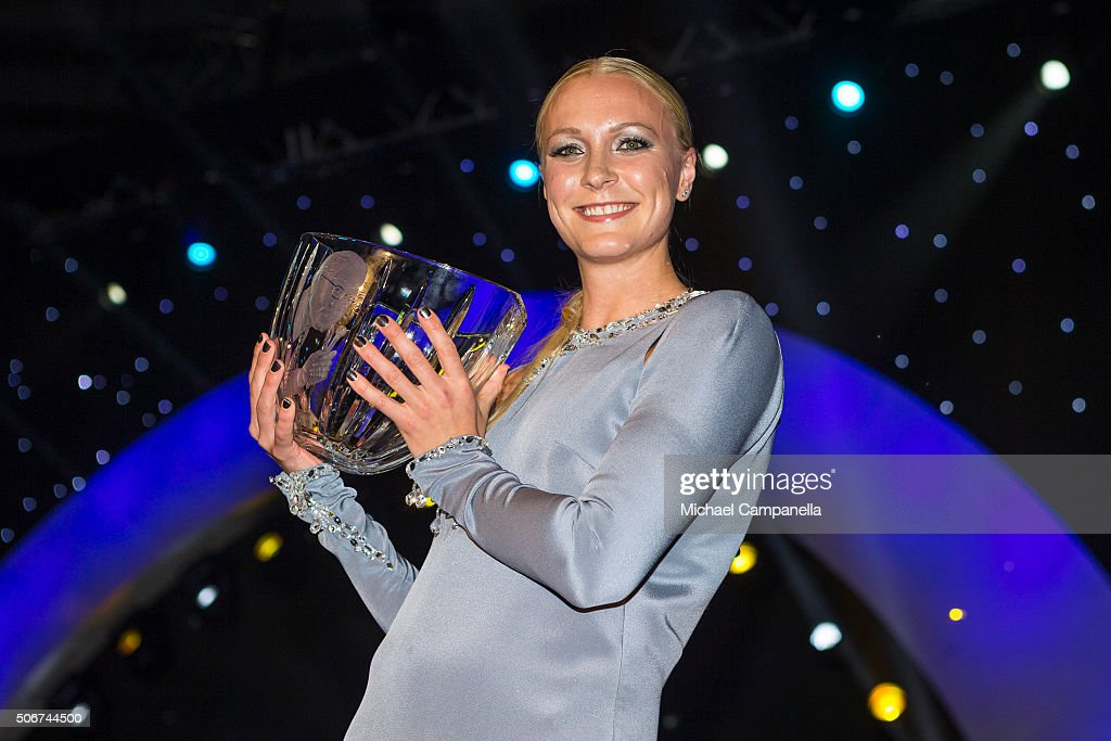 Sarah Sjostrom wins the Swedish Radio's Jerring prize at the Swedish Sports Gala at the Ericsson Globe on January 25 2016 in Stockholm Sweden