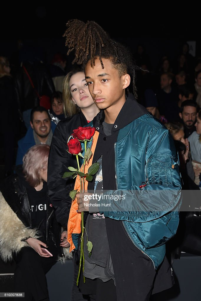 <a gi-track='captionPersonalityLinkClicked' href=/galleries/search?phrase=Sarah+Snyder+-+Model&family=editorial&specificpeople=15052759 ng-click='$event.stopPropagation()'>Sarah Snyder</a> (L) and actor <a gi-track='captionPersonalityLinkClicked' href=/galleries/search?phrase=Jaden+Smith&family=editorial&specificpeople=709174 ng-click='$event.stopPropagation()'>Jaden Smith</a> attend the Hood By Air Fall 2016 fashion show during New York Fashion Week: The Shows at The Arc, Skylight at Moynihan Station on February 14, 2016 in New York City.