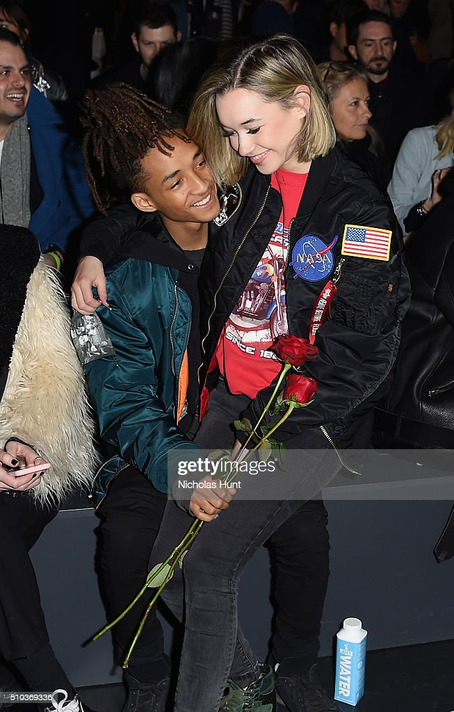 Sarah Snyder and actor Jaden Smith attend the Hood By Air Fall 2016 fashion show during New York Fashion Week The Shows at The Arc Skylight at...