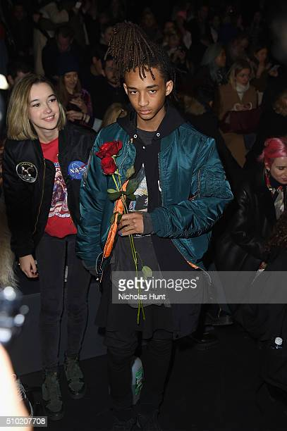 Sarah Snyder and Jaden Smith attend the Hood By Air Fall 2016 fashion show during New York Fashion Week The Shows at The Arc Skylight at Moynihan...