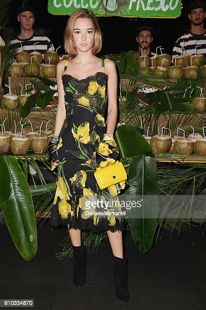 Sarah Snyder attends the Dolce And Gabbana show during Milan Fashion Week Spring/Summer 2017 on September 25 2016 in Milan Italy