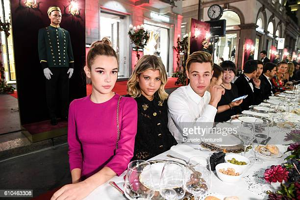 Sarah Snyder Sofia Richie a nd Cameron Dallas attend the DolceGabbana Boutique Opening Event during Milan Fashion Week Spring/Summer 2017 on...