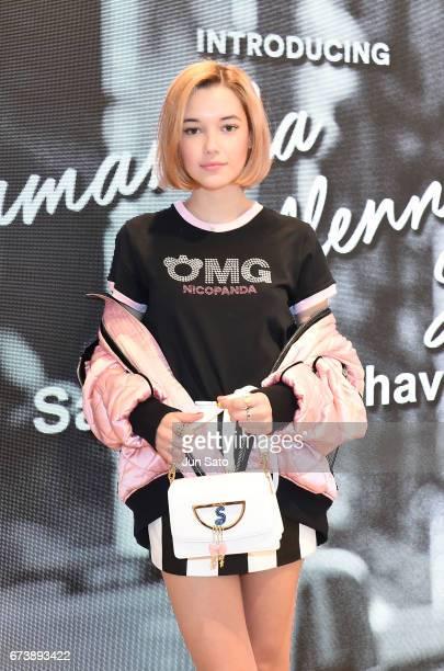 Sarah Snyder visits at Samantha Thavasa Digital Popup Omotesando Store on April 27 2017 in Tokyo Japan
