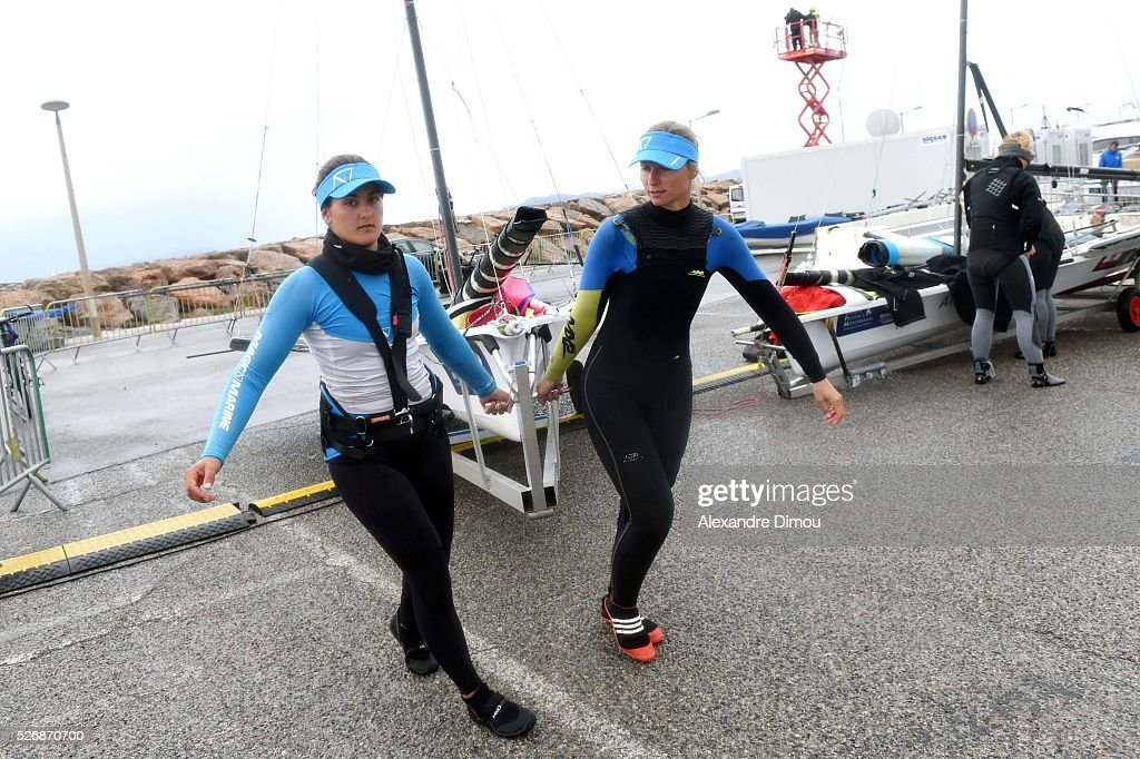Sarah Steyaert and Aude Compan of France compete in the 49er FX race boat during the Sailing World Cup on May 1, 2016 in Hyeres, France.