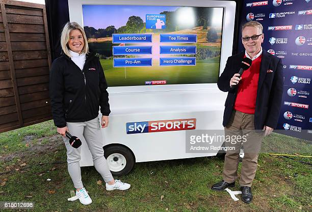 Sarah Stirk of Sky Sports and Keith Pelly the CEO of the PGA European Tour pose next to the Sky Cart during the fourth round of the British Masters...