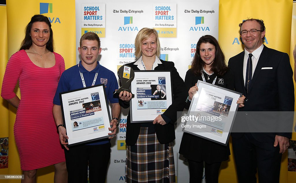 Sarah Storey (L) and Barney Storey (R) pose with Excellence in Disabled Sport nominees during the AVIVA and Daily Telegraph School Sport Matters awards at Lord's Cricket Ground on November 14, 2012 in London, England.