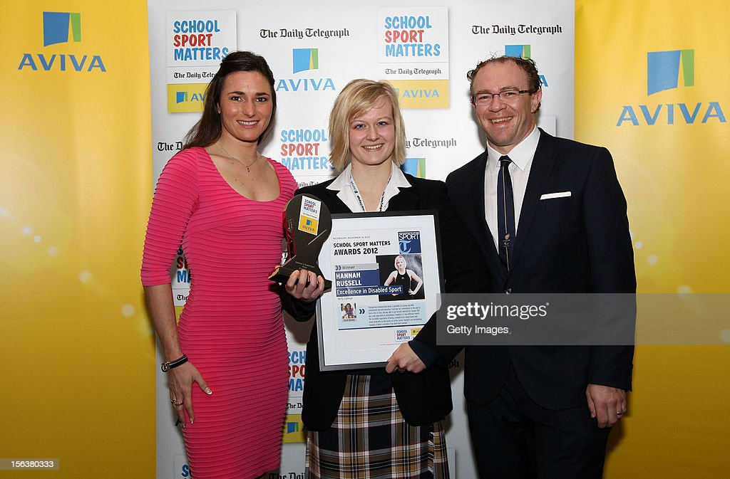 Sarah Storey (L) and Barney Storey (R) pose with Excellence in Disabled Sport winner Hannah Russell during the AVIVA and Daily Telegraph School Sport Matters awards at Lord's Cricket Ground on November 14, 2012 in London, England.