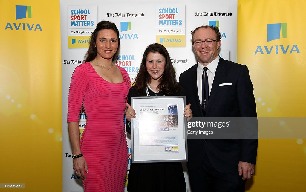 Sarah Storey (L) and Barney Storey (R) pose with Excellence in Disabled Sport highly commended nominee Olivia Breen during the AVIVA and Daily Telegraph School Sport Matters awards at Lord's Cricket Ground on November 14, 2012 in London, England.
