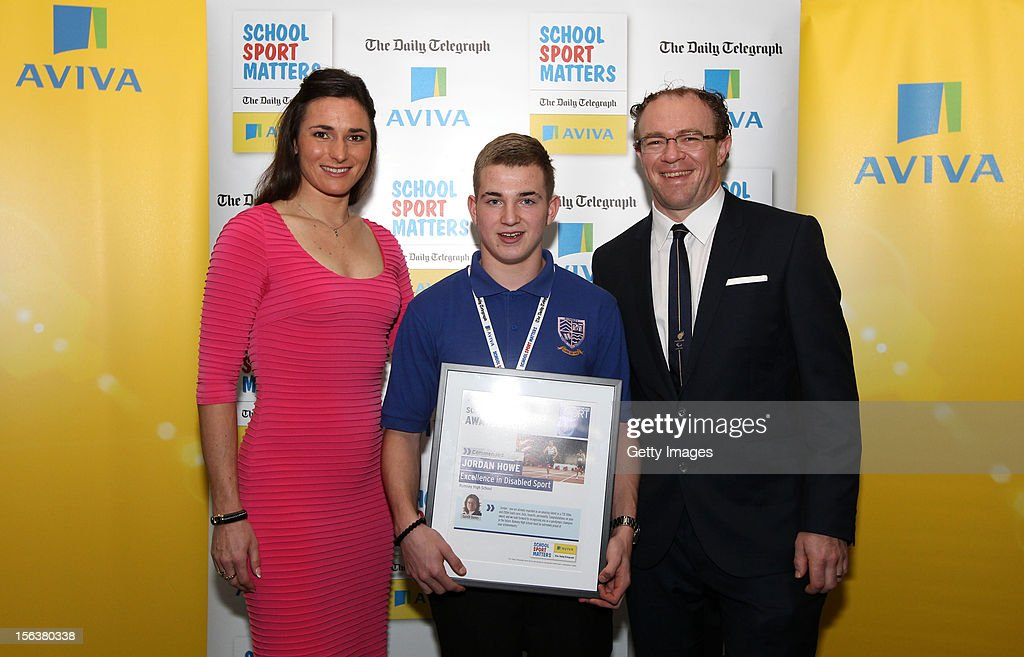 Sarah Storey (L) and Barney Storey (R) pose with Excellence in Disabled Sport commended nominee Jordan Howe during the AVIVA and Daily Telegraph School Sport Matters awards at Lord's Cricket Ground on November 14, 2012 in London, England.