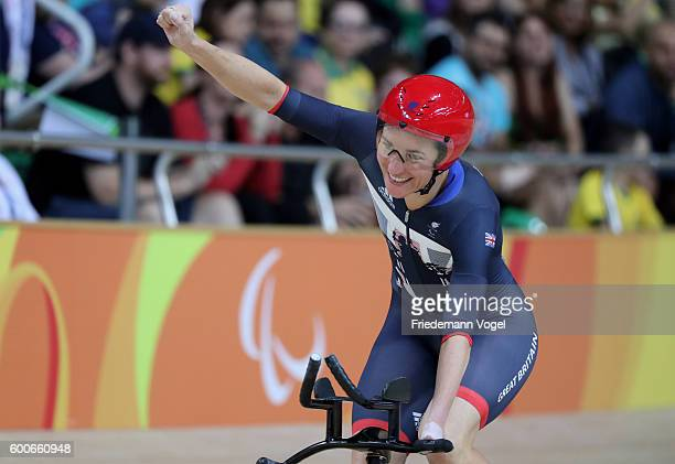 Sarah Storey of Great Britain celebrates after the womens C5 3000m individual pursuit track cycling on day 1 of the Rio 2016 Paralympic Games at the...