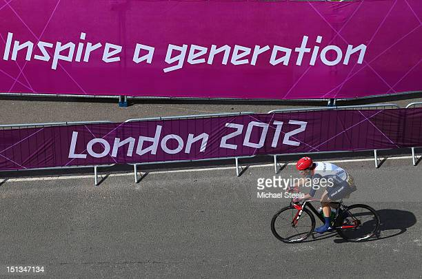 Sarah Storey of Great Britain on her way to winning gold in the Women's Individual C45 Road Race during the road cycling on day 8 of the London 2012...