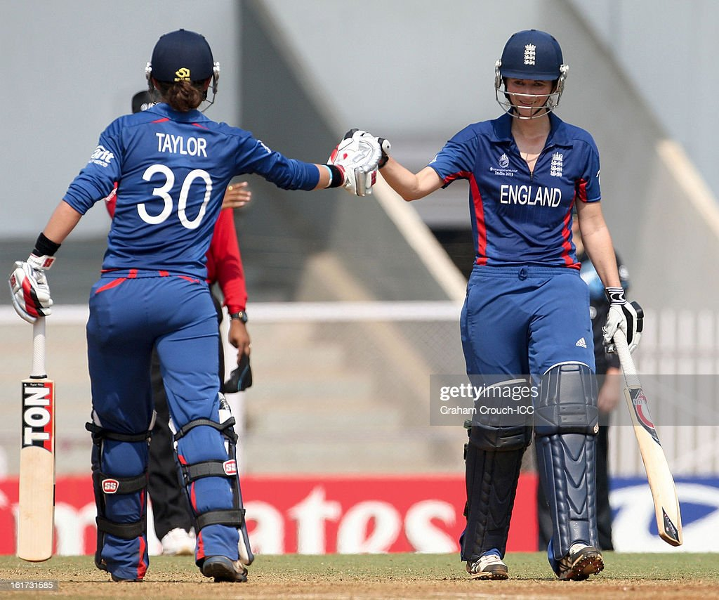 Sarah Taylor and Charlotte Edwards of England batting during the 3rd/4th Place Play-Off game between England and New Zealand at the Women's World Cup India 2013 at the Cricket Club of India ground on February 15, 2013 in Mumbai, India.