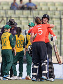 Sarah Taylor and Heather Knight of England embrace after hitting the winning runs during the England Women v South Africa Women at ShereBangla Mirpur...